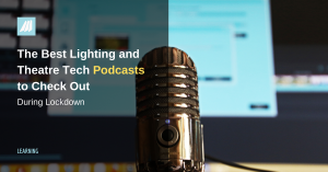 blog cover image for a list of lighting and tech theatre podcasts with computer screen and microphone