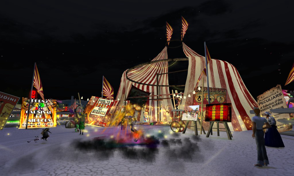 virtual burning man tent with people standing around watching