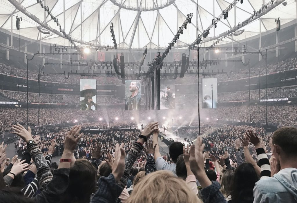 crowded atlanta event people in a stadium cheering