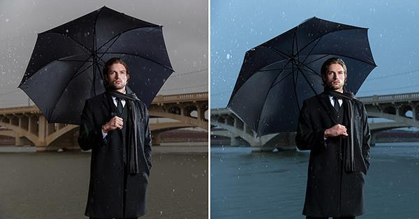 two images of man with umbrella showing light with cto and ctb gels