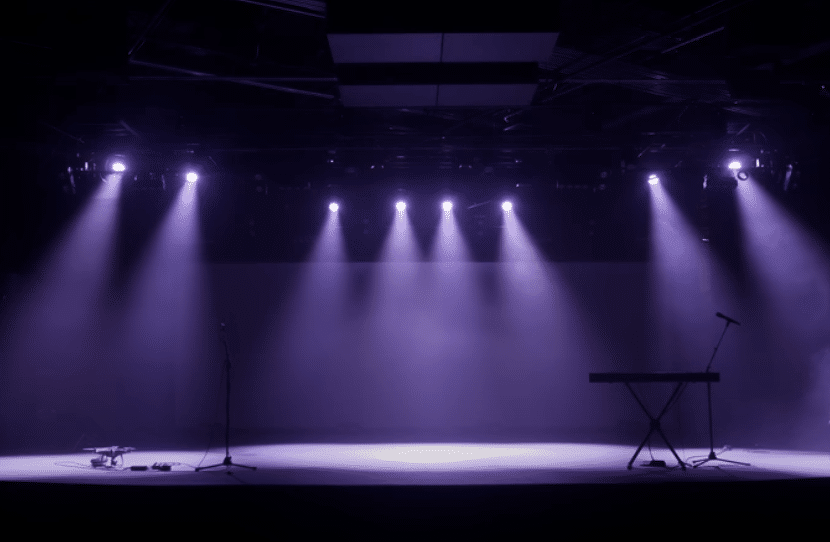 church stage lighting setup before show