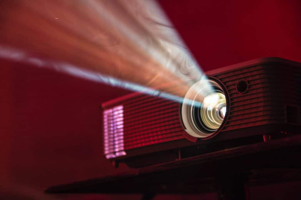 hd movie projector turned on