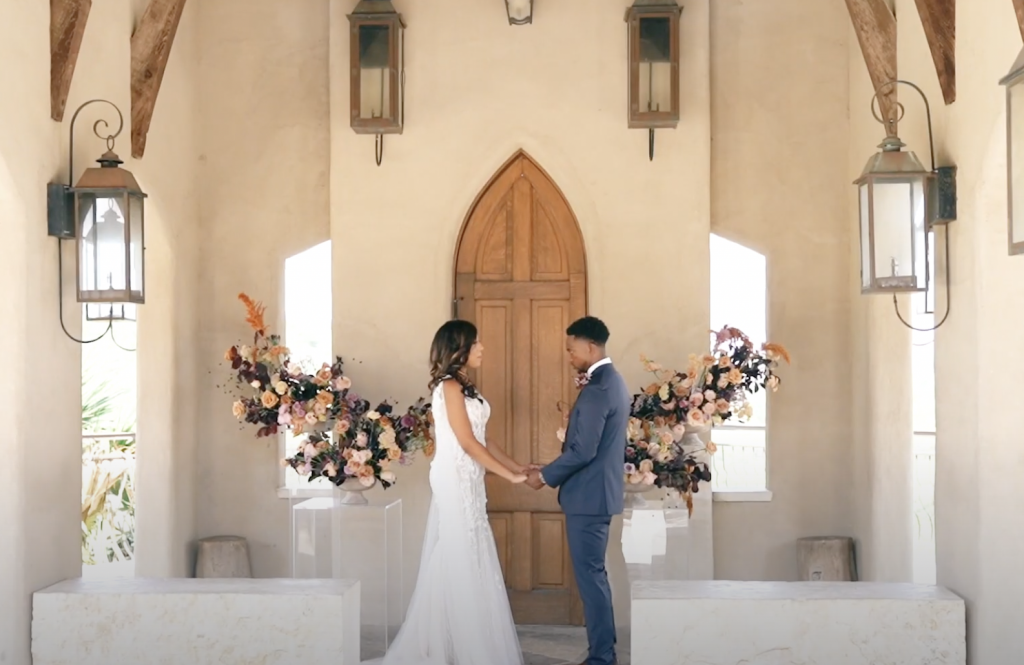 micro hybrid wedding with couple getting married