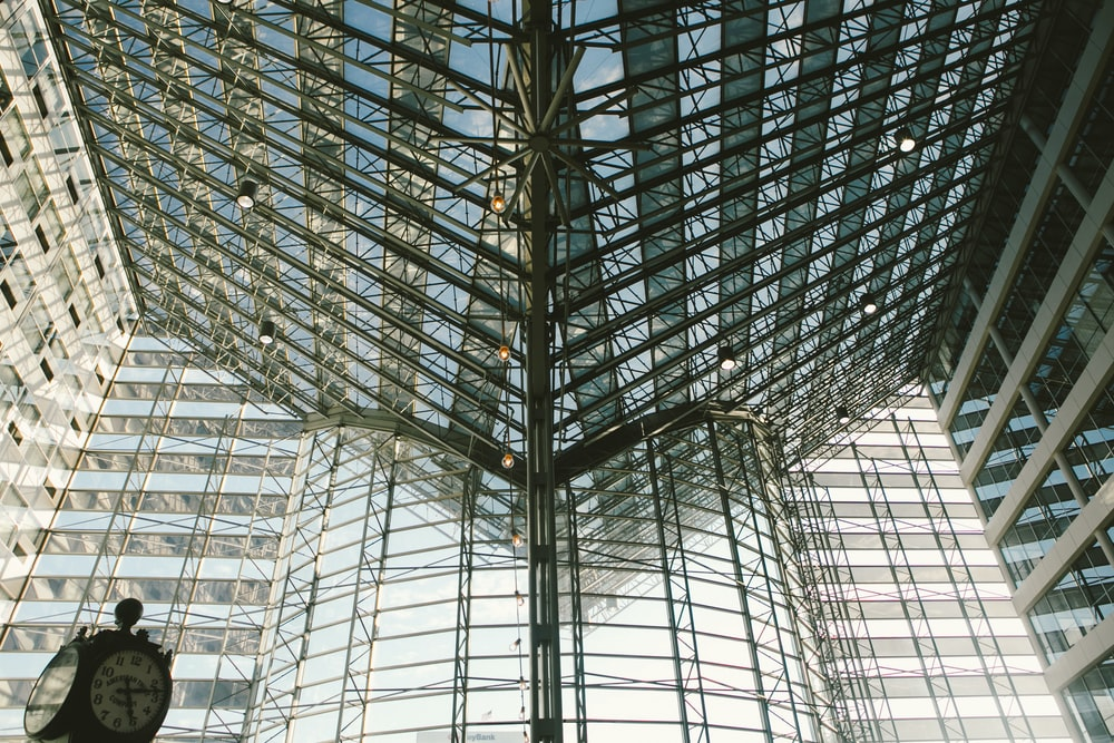 conference center with glass walls and ceiling