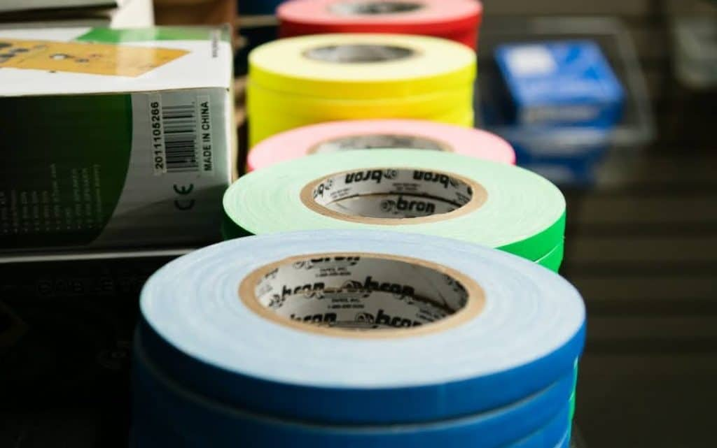 rolls of different colored gaff tape