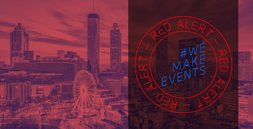 #wemakeevents #redalertrestart logo over the atlanta skyline in red.