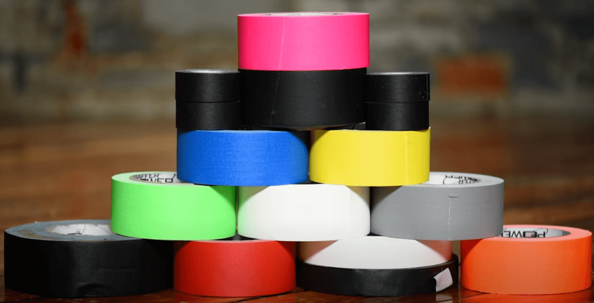 stack of different colored gaff tape for film set